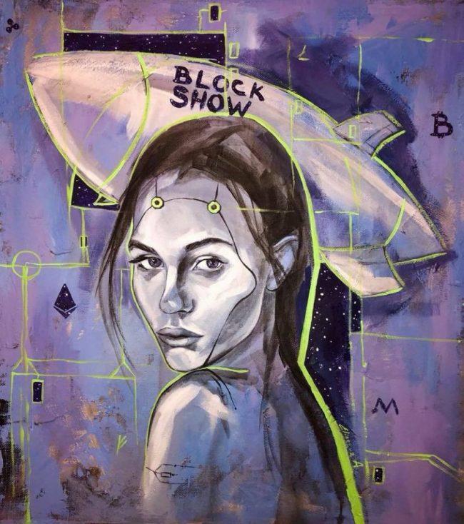 Проект Art of Blockchain подарил именную картину организаторам конференции BlockShow Europe