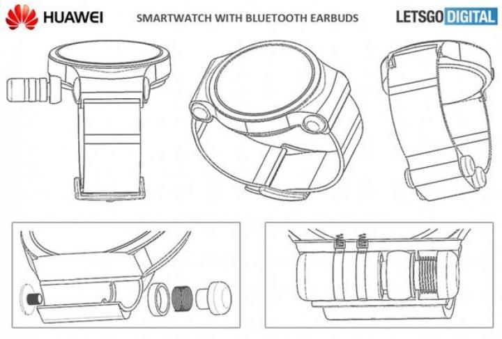 Huawei запатентовала умные часы с креплением для беспроводных наушников (фото)